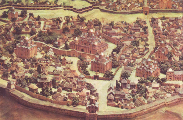 Ancient Kiev, 10th-13th centuries. A scale model by artist D. Mazyukevich