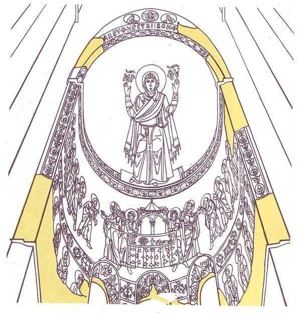 Главный алтарь. Схема размещения мозаик Софийский Собор