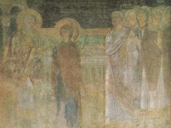 фреска Вручение Марии кокцина и пурпура Софийский Собор